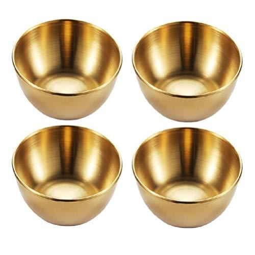 Cabilock 4 Pezzi Ciotole per Condimenti in Acciaio Inox Piatti per Condimenti Vassoi per Antipasti Sushi Snack per Immersione Piattini