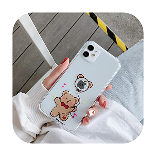 Lindo oso teléfono móvil caso iphone 12 pro max dibujos animados iphone 12 cáscara suave iphone 11 pro caso para iphone 11 vaca/oso divertido/XR/XS-3-iPhone XS