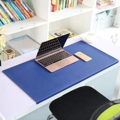 Alfombrilla de ratón ejecutiva de piel sintética con protector de borde, alfombrilla impermeable para escritorios con labio, alfombrilla de escritura antideslizante, resistente al calor, se puede cortar, azul, 90x50cm