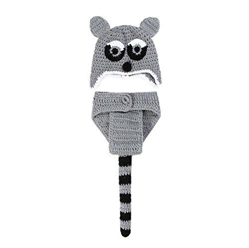 DELEY Bébé Fait Main en Tricot Raton Laveur Costume Unisexe Vêtements Costume Chapeau de Pantalon Set de Photo Accessoires de 0 à 6 Mois