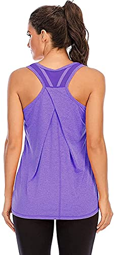 Nekosi Damen Yoga Tanktops Ärmelloses Sportshirt Kleidung Mesh Zurück Fitness Laufen Shirt Sport Oberteile Lila Groß