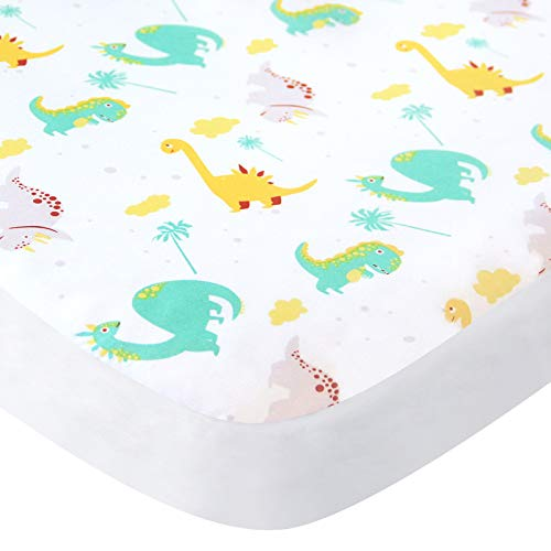Mini Crib Sheets, Pack n Play Sheets Fitted Dinosaur for Playard Playpen, Pack and Play Mattress Sheet for Boys, Suitable for Graco Play Yards - Dinosaur Paradise