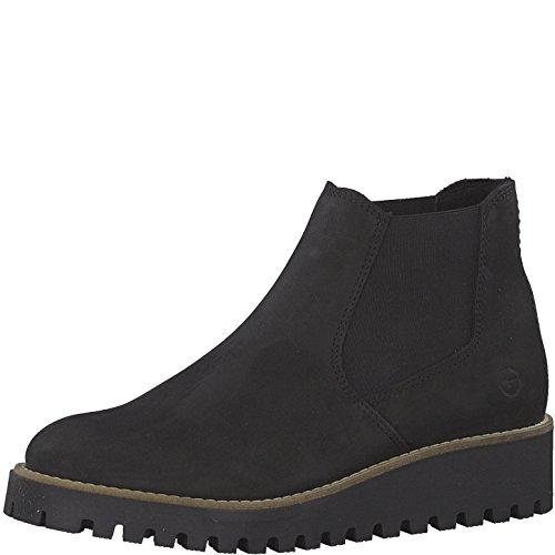 Tamaris Damen Chelsea Boots 25471-21,Frauen Stiefel,Halbstiefel,Stiefelette,Bootie,Schlupfstiefel,hoch,Keilabsatz 4cm,Black,EU 39