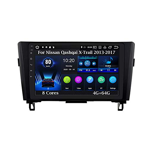 Android - Radio de coche con pantalla táctil de 9 pulgadas para Nissan Qashqai X-Trail 2013-2017 8 núcleos 4G+64G Accesorios de coche Multimedia Control de volante con navegación Plug and Play