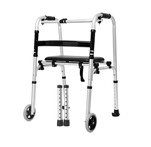 FGSJEJ Walker mit Rädern und Kissen, Aluminiumlegierung Vierbeinrohr, rutschfeste Fußauflage, höhenverstellbar, leicht und stabil, geeignet for Rehabilitationstraining (Color : Silver2)