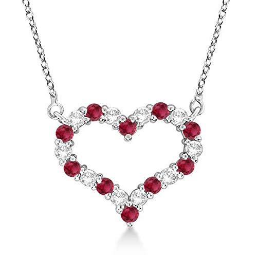 Collana a cuore aperto con diamanti e rubini rossi 14k Collana in oro con diamanti e oro bianco a cuore - MEDIUM Heart. Gioielli di San Valentino