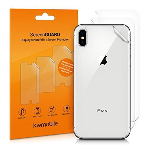 kwmobile 3X Schutzfolie Rückseite kompatibel mit Apple iPhone XS Max - Folie Backcover Smartphone - Handyfolie transparent