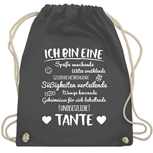 Shirtracer Schwester & Tante - Ich bin eine Tante - Unisize - Dunkelgrau - patentante geschenk beutel - WM110 - Turnbeutel und Stoffbeutel aus Baumwolle