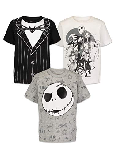 Disney Nightmare Before Christmas Jack Skellington Big Boys Kids 3 Pack Tee Black 14-16