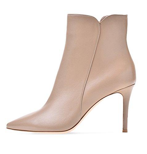 EDEFS Damen Stiefel,Kurzschaft Stiefeletten,Damen Ankle Boots,High Heels Schuhe mit Reißverschluss Nude Größe EU37