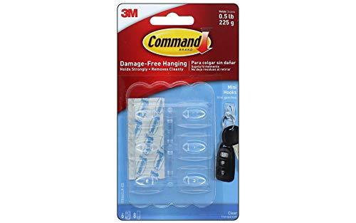 Command Clear Mini Hooks 6 Hooks, 1 Pack