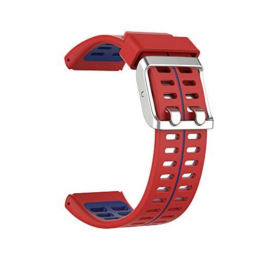 KINOEHOO Correas para relojes Compatible con Polar V800 Pulseras de repuesto.Correas para relojesde siliCompatible cona.(Rojo y azul)