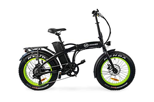 Varaneo E-Bike Dinky Klapprad Fat Tyre-Look Elektrofahrrad 25 km/h 561Wh Pedelec 7 Gang (Schwarz matt/Kiwigrün)