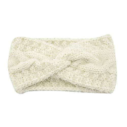 Fulltime (TM) - Diademas para mujeres para cara y cara de ganchillo boho invierno de imitación de visón de peluche con cruz, accesorios para el pelo de punto de lana para mujeres y niñas Blanco blanco Talla única