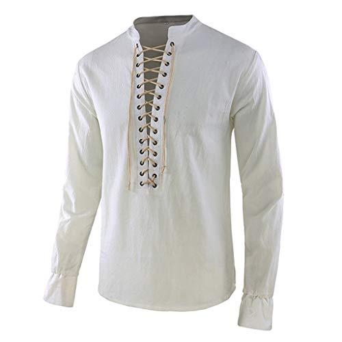 GreatestPAK Vintage Einfarbig T-Shirt Herren Henley-Kragen mittelalterlicher Stil Kostüm neu Lange Ärmel Top,Weiß,2XL