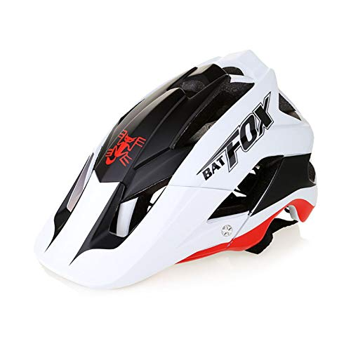 Zeroall Casco Bici Casco da Bicicletta 56-62cm Dimensioni Regolabili Donna Uomo Mountain Bike Helmet con Visiera Staccabile, Casco da Ciclismo per Bicicletta Scooter Skateboard(Bianco Rosso)