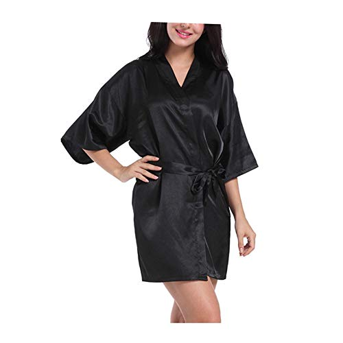 Morbuy Lencería Kimono Batas de casa con Escote de Seda Satén Camisón Ropa de Dormir Cama Albornoz Dama,1Pcs
