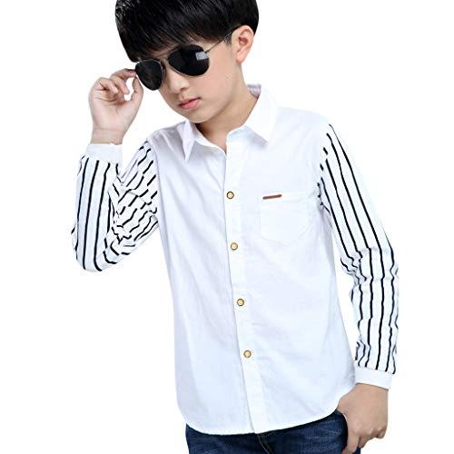 Julhold Teenager Baby Kinder Slim Striped Langarm Button Shirt Schule Täglich Casual Top Gr. 9-11 Jahre, 2-marineblau