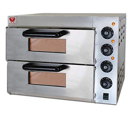 Beeketal \'BPO33-2\' Profi Doppel Kammer Pizzaofen mit 2x 400x400 mm Schamottstein Backflächen, Gastro Steinbackofen für Pizza, Brot und Backwaren, Leistung 3000W, Pizzabackofen Temperatur bis zu 350°C
