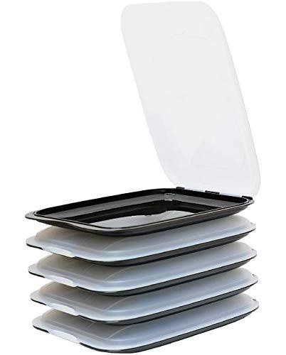Design 5X Aufschnittboxen/Frischhalteboxen/Frischhaltedose stapelbar in der Farbe Schwarz geeignet für Aufschnitt wie Wurst und Käse und vieles mehr in der Größe 25x17x3.3cm