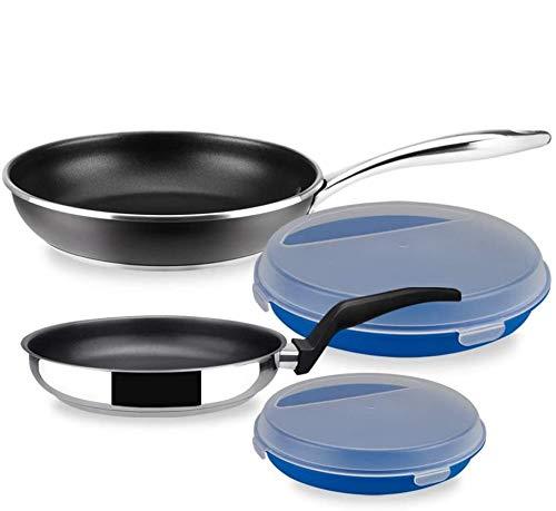 SARTÉN MAGEFESA Black Steel Set 4 Piezas. Sartén Fabricada en Acero Inoxidable 18/10, Antiadherente Triple Capa, Apta INDUCCIÓN. Fácil Limpieza. Apto para lavavajilla.