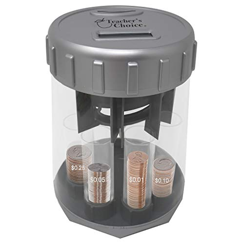 Teacher's Choice Digital Coin Counter Automatic Coin Sorter - 2020 Version - Digitally Keeps Count of and Automatically Sorts U.S. Coins into Individual Tubes, with 20 Coin Wrappers Included