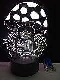 3D LED ilusión lámpara noche luz seta forma interfaz USB luces 7 colores cambiantes toque bebé dormitorio sueño lámpara, cumpleaños fiesta regalos para niños