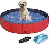 Piscina extra grande para mascotas, antideslizante UV-a prueba de UV CLORURO DE POLIVINILO Piscina plegable de remo con piscina de baño de frisbees para perros, gatos, niños, engrosamiento de la pisci