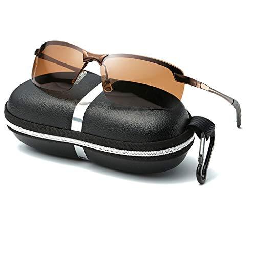 Leluo gepolariseerde sport zonnebril voor mannen vrouwen sport brillen lichtgewicht duurzaam frame hardlopen fietsen vissen rijden Golf UV400 bescherming met harde behuizing (kleur: koffie)