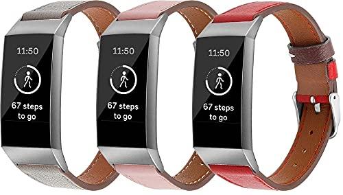Genuinos Correas de Reloj Compatible con Fitbit Charge 4 / Charge 4 SE/Charge 3 SE/Charge 3, Cuero de Liberación Rápida Correa de Reloj (3-Pack J)