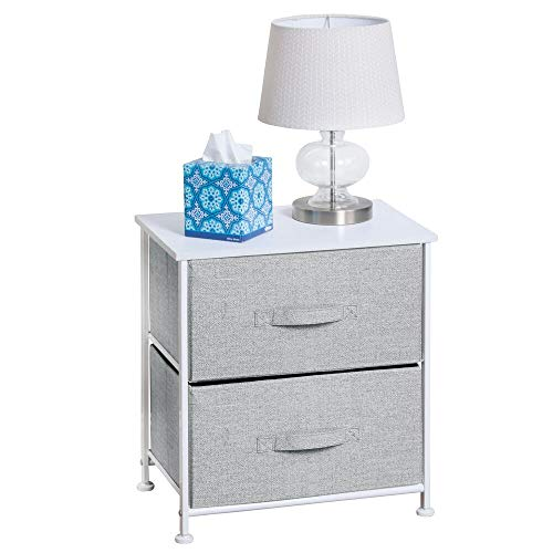 Best Price! mDesign Night Stand/End Table Storage Tower – Sturdy Steel Frame, Wood Top, Easy Pull Fabric Bins – Organizer Unit for Bedroom, Hallway, Entryway, Closets – Textured Print – 2 Drawers – Gray/White