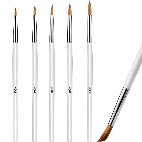 5 Pieces Acrylic Nail Brush with Round Wood Handle 3D Painting Drawing Brush UV Gel Carving Pen Brush for Acrylic Liquid Styling Nail Art Decoration (2-10, White)