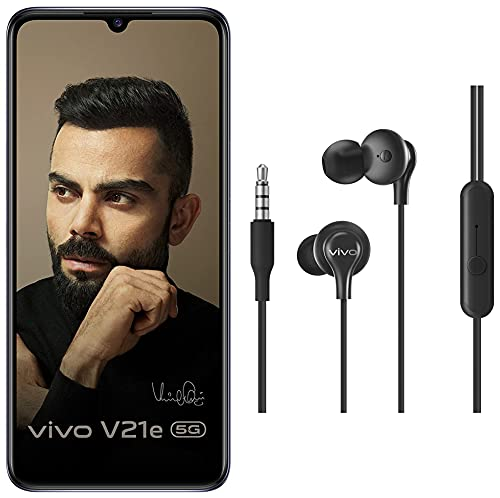 Vivo V21e 5G (Dark Pearl, 8GB RAM, 128GB Storage) with No Cost EMI/Additional Exchange Offers + vivo Color Wired Earphones with Mic and 3.5mm Jack (Black)