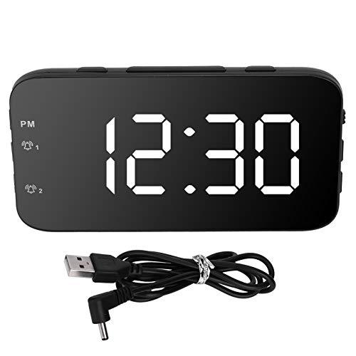 Pangding Reloj Despertador Ajuste de Alarma Dual Reloj Despertador LED, Modo de Funcionamiento de Fuente de alimentación Dual Reloj Despertador, para el hogar del Hotel(White)