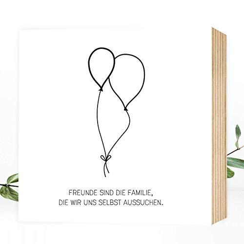 Wunderpixel® Holzbild Freundschaft - Freunde sind Familie - 15x15x2cm zum Hinstellen/Aufhängen, echter Fotodruck mit Spruch auf Holz - schwarz-weißes Wand-Bild Aufsteller Dekoration oder Geschenk