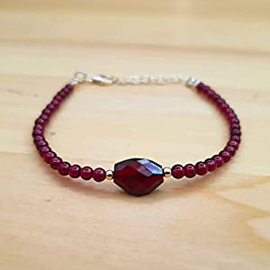 Garnet Round Beads Bracelet Sterling Silver January Birthstone