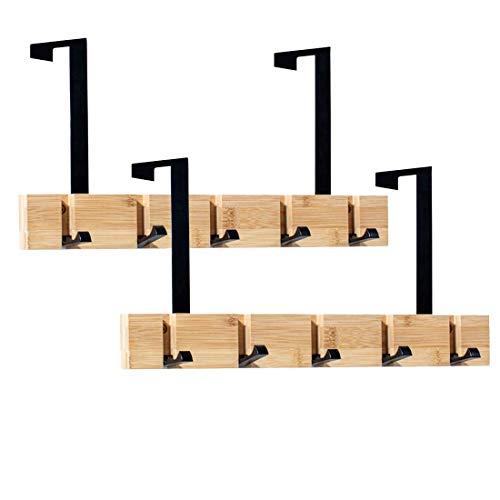 Encozy Türhaken, schwarz, zusammenklappbar, aus Holz, Bambus-Holzbrett zum Aufhängen von Kleidung, Handtüchern (2 Stück)