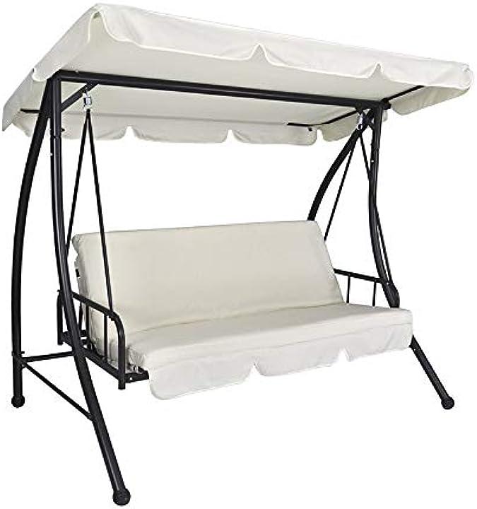 Dondolo da giardino 3 posti trasformabile in letto mod. cayman samira DOL11-CA210