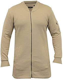 Brave Soul Mens Long MA1 Sweatshirt Jacket Harrington Mac Fleece Lined Winter