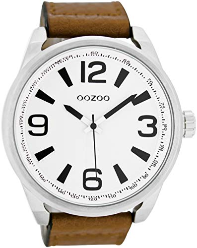 Oozoo Herrenuhr mit Lederband 50 MM Silberfarben/Braun C6745