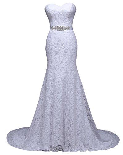 Unbekannt NEU Brautkleid Spitze 34 36 38 40 42 44 46 Braut Kleid Hochzeit Schleppe Strass Gürtel Meerjungfrau (40, Weiß)
