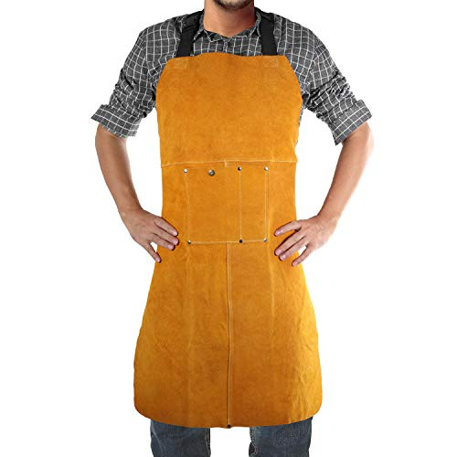 Safety Shop Leather Welding Work Apron,Heat&Flame Resistant, Protective Clothing or Safety Apparel for Blacksmith,Woodwork/Home Improvement/Heavy Duty Work,23x35inch