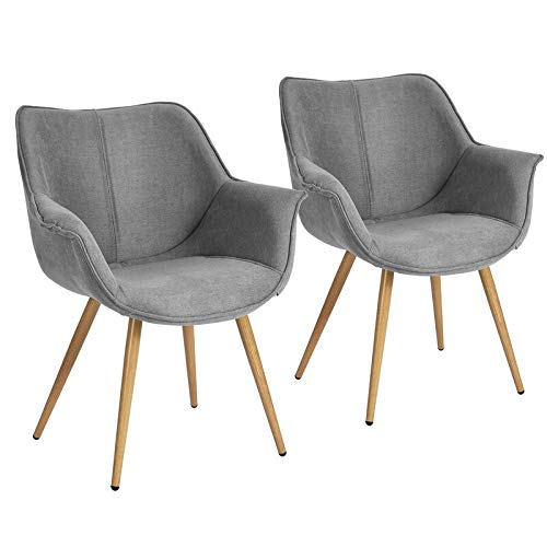 FurnitureR Set of 2 Modern Dining Chairs Armchairs Ergonomic Comfort Fabric Seat with Metal Legs