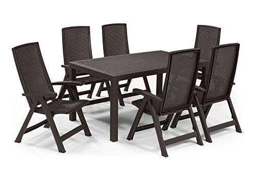 Keter - Set de mobiliario de jardín Melody/Montreal (mesa + 6 sillas), color marrón