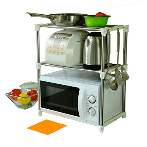 BAOYOUNI 2 Tier Küche Mikrowelle Rack Regal Mikrowellenhalter Einheit Metall-Lagerung Stand Ofen Lagerregal Erweiterbare Länge mit 6 Haken und 2 Stück 25 x 35cm Transparent Regal Liner