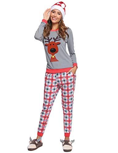 Aiboria Mujer Pijama de Algodón Ropa de Dormir de Manga Larga Conjunto de Pijama de PJ Ropa de Dormir Linda para...