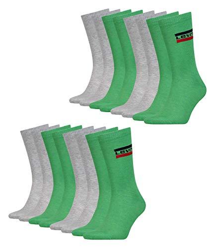 Levi's Unisex Tennissocken Strümpfe Sportswear Logo Socken 983041001 8 Paar, Farbe:Mehrfarbig, Größe:43-46, Menge:8 Paar (4x 2er Pack), Artikel:-327 green