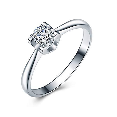 KnSam 18K Oro Blanco Anillo, Anillo de Compromiso Corazón-Forma Único Diamante,