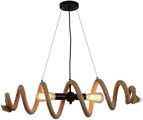 Lámpara De Pared Simple Y Fresca Aaedrag Comedor Lámpara Colgante industrial Lámpara para sala de estar Cuerda de cáñamo Cuerda Colgante Luz Vintage Mesa Retro Rústico Retro Lámpara con Lámpara de Cop
