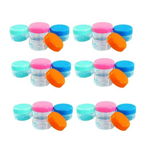 SOLUSTRE 60 Pcs 20 Grammes Vide en Plastique Transparent Conteneurs Cosmétiques Pots D'échantillon Bouteilles Voyage Bouteille Pot Pots pour Crème Lotion (Couleur Mélangée)